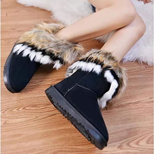 Sintetica Invernali Gfone Nero Sandali Stivali In Casual Donna Con Pelliccia Tacco ZwRw8xfH