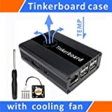 Tekit Tinker Board Case Aluminum with Cooling Fan Blue for ASUS SBC,Case for Tinker Board,Tinker Board Aluminum Alloy case,Tinker Board Case Aluminum with Fan (Black)