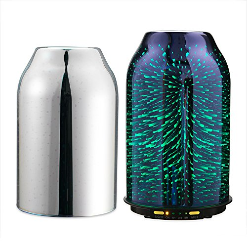 TaoTronics Diffuser, Essential Oil Diffuser with Elegant 3D Glass, Compact 6.76 oz/200 mL Aroma Diffuser, Humidifier for Kids, Comes with 2 Glass Covers, Extra Silver Shade for Free 511f8dAzkIL