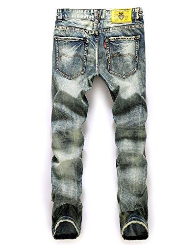 Fit Pantaloni In Come Denim Jeans Immagine Distrutto Uomo Fori Sguardo Slim Ginocchio UdxtA