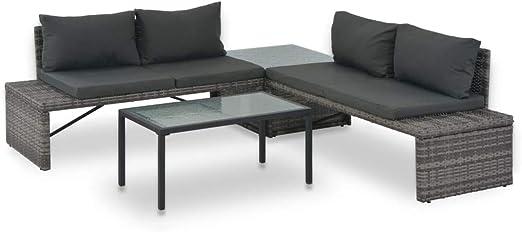 vidaXL Set Muebles Salón Jardín 3 Pzs Cojines Ratán Sintético Gris Mesa Silla: Amazon.es: Hogar