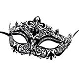 Luxury Mask Women's Laser Cut Metal Venetian Crown Mask, Black No Stones, One Size