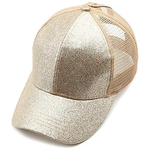 Womens Glitter Baseball Cap - C.C Hatsandscarf Ponytail caps Messy Buns Trucker Plain Baseball Cap (BT-6) (Glitter-Gold)