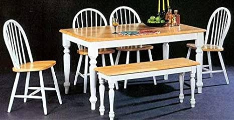 Image Unavailable Not Available For Color 6pc Dining Table Chairs Bench Set White Natural Finish