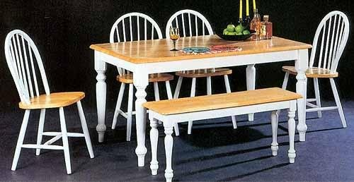 6pc Dining Table Chairs Bench Set White Natural Finish 4160 Set