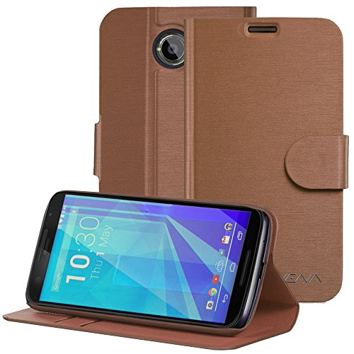 Google Nexus 6 Wallet Case - VENA [vSuit] Slim Fit Leather Case with Stand and Card Slots for Google Nexus 6 - Brown