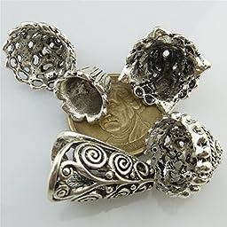 (10 Pack) Multi Filigree Tassel Ends Cap / Antique Retro Jewelry / Vintage Silver Filigree Craft Charms
