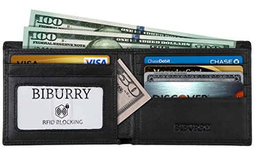 BIBURRY #1 Grade Nappa Genuine Leather RFID Blocking Slim Bifold Wallet for Men (Coupons For Party City 2016)