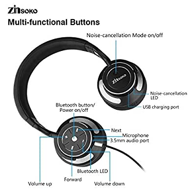 Zinsoko Headphone Active Noise Cancelling Wireless Bluetooth Over-ear Stereo Headphones with Microphone and Volume Control with Charging Cable & Carrying Case for Travel Headset