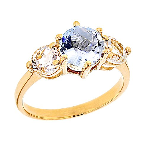 Modern Contemporary Rings Elegant 10k Yellow Gold Genuine Aquamarine with White Topaz Engagement/Proposal Ring (Size 6.5)