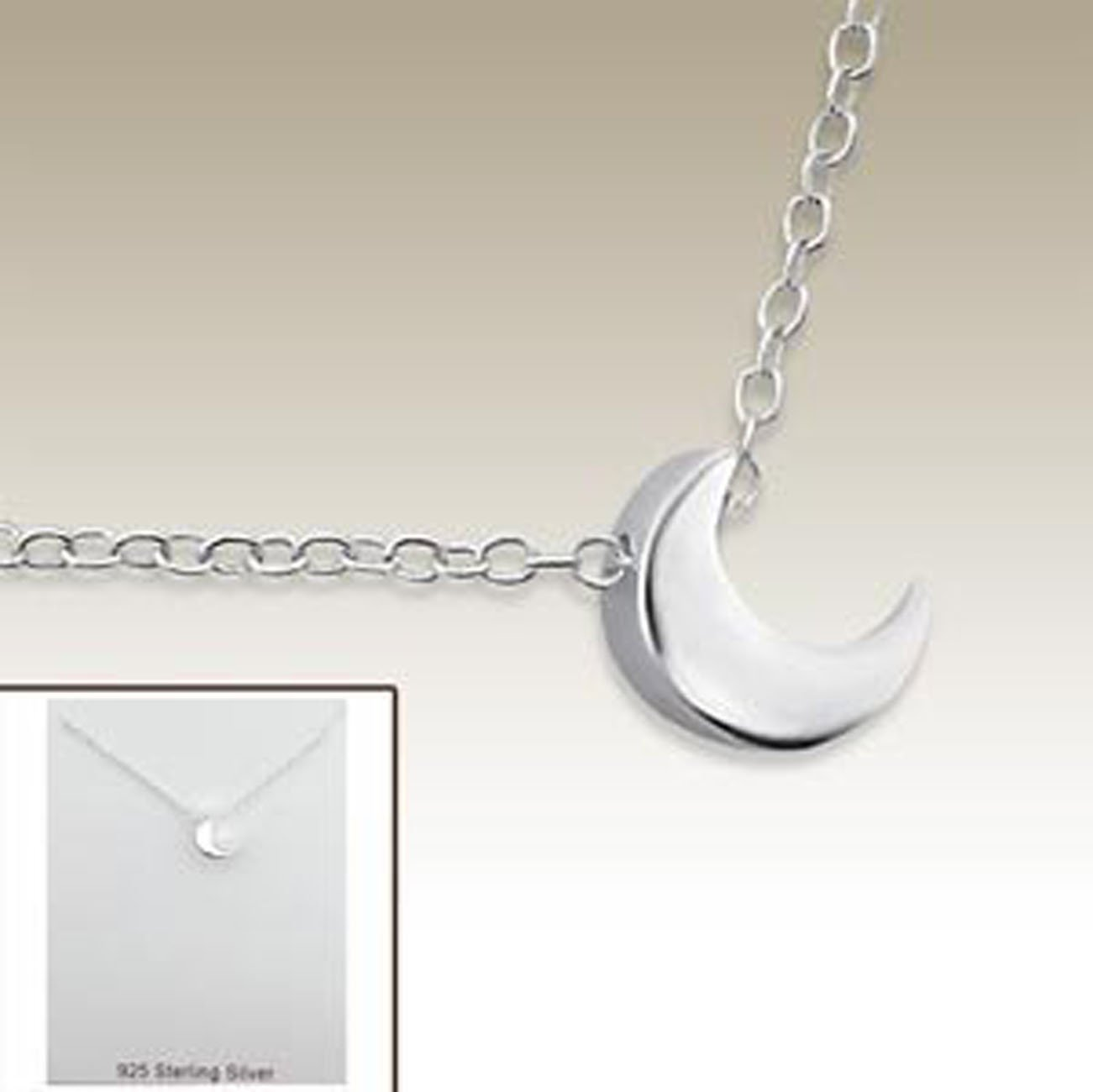 Girl Silver Necklace, Tiny Crescent Moon Necklace 925 Sterling Silver (E17742)