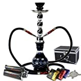 "GSTAR Starter Series: 18"" 2 Hose Hookah Combo Kit Set w/ NeverXhale Charcoal, Hydro Herbal Molasses, and Screen (Diamond Etched Black)"