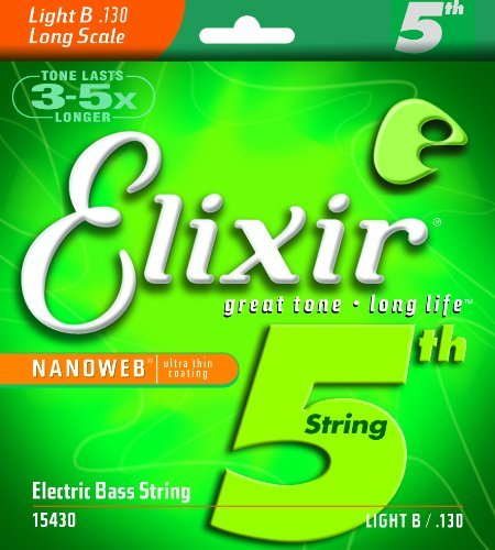 (Elixir® Strings Nickel Plated Steel with NANOWEB® Coating, Custom Bass 5th String Single, Light B, Long Scale (.130) )