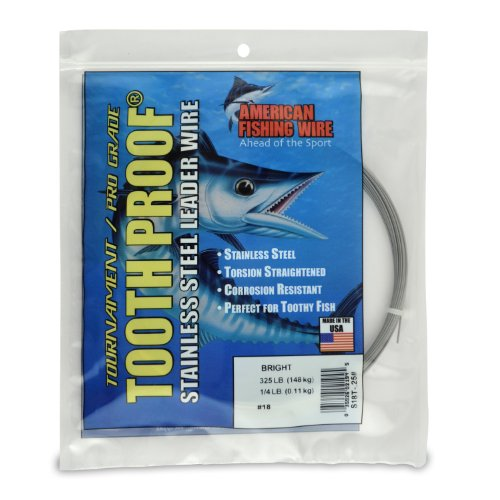 American Fishing Wire Tooth Proof Stainless Steel Single Strand Leader Wire, Size 18, Bright Color, 325 Pound Test, 1/4 Pound -