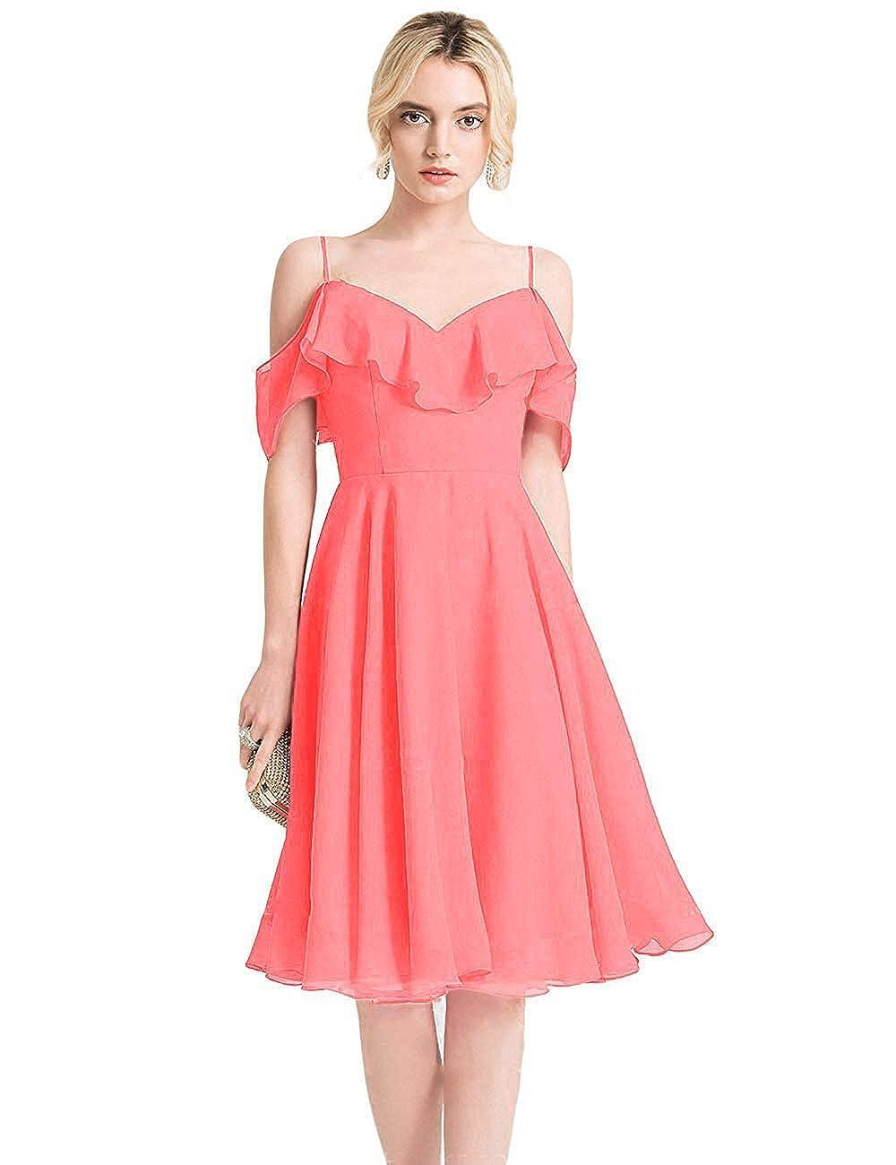 CoralB FeiYueXinXing VNeck Ruffled Spaghetti Strap Prom Dresses Long Formal Evening Gown