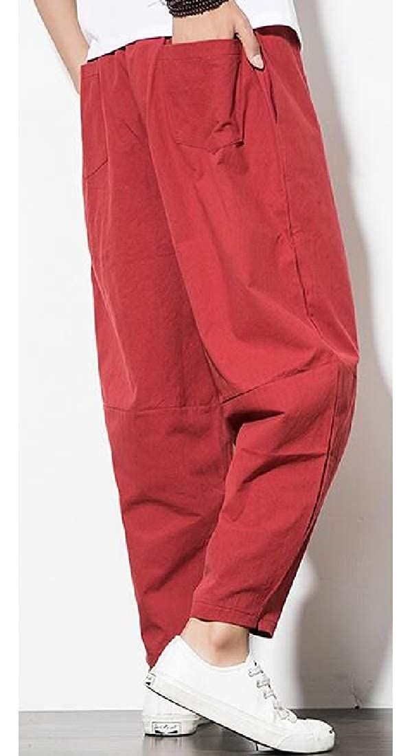 ARTFFEL Mens Cotton Linen Chinese Style Casual Solid Color Loose Fit Harem Pants