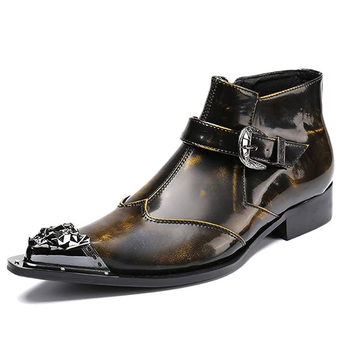 Botas De Martin De Cuero Genuino Para Hombre Botas De Punta Estrecha Botas Casual Botines De Trabajo De Tobillo Vintage Chelsea Chelsea Footwear,Brown-45: ...