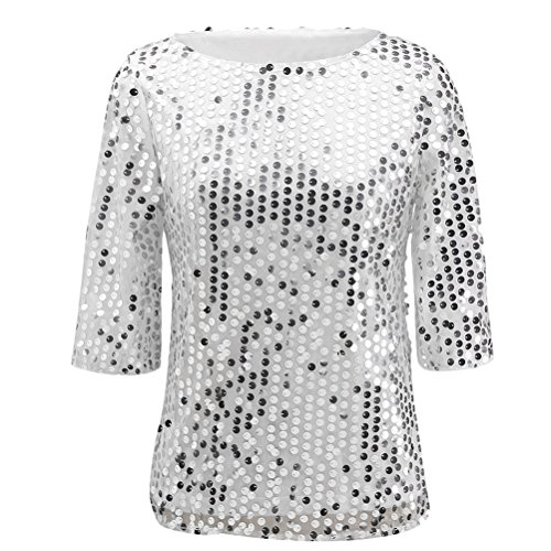 Zhhlaixing Fashion Women's Sequins Casual Sleeves T-shirts Short Style Shimmer Sequin Embellished para Pretty Girl White