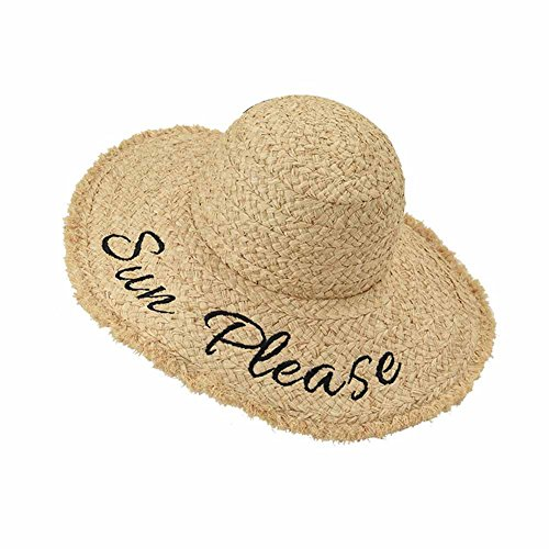 WENZHE Summer Women's Outdoor Sun Hats Girls' Caps Visors Raffia Great Edge Letter Embroidery Straw Hat Shade Sun Protection Multifunction, Herbal Color -