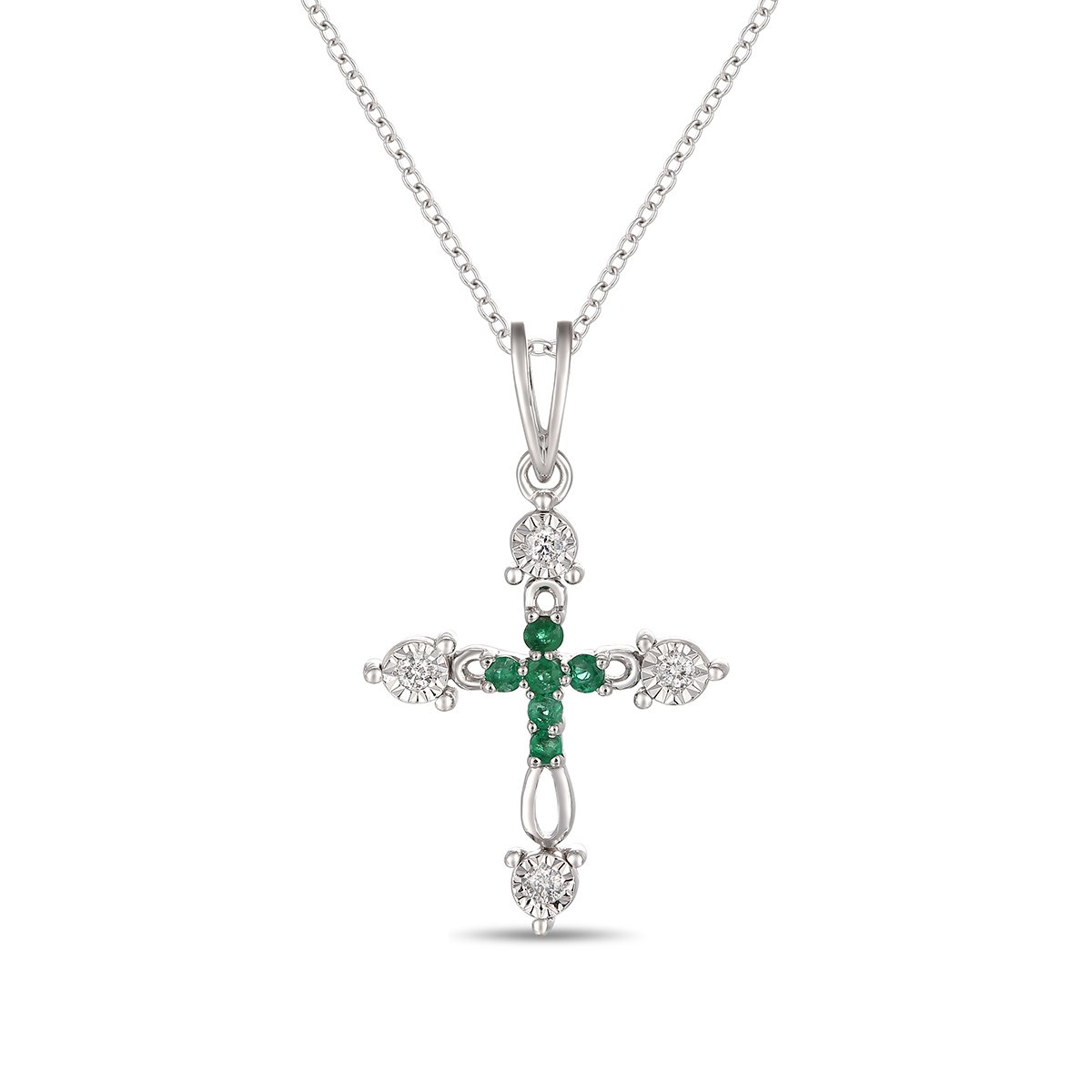 Ferhe New York Mother's Day Gift, 14K Gold Almighty Cross Pendant with Diamond & Emerald,Diamond Almighty Cross Pendant, Emerald Almighty Cross Pendant,Pendant Only- NO Chain