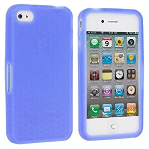 Blue Silicone Rubber Gel Soft Skin Case Cover for Apple iPhone 4 4G 4S
