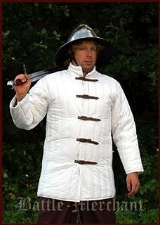 Mittelalter Gewandung LARP Reenactment weiss Gambeson mit abnehmbaren Ärmeln
