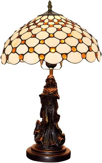 Lámparas de mesa estilo Tiffany, vitrales color crema y perlas de ...