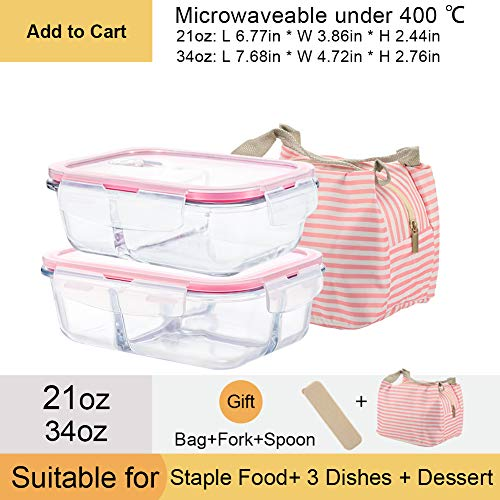 OTOR Glass Food Storage Containers with Airtight PP Lids, Glass Meal Prep Containers 21oz 34oz Rectangle Lunch Containers Set with Pink Portable Bag