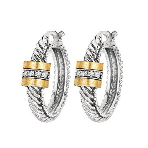 Barrel Hoop Earring Set - Sterling Silver 0.10ct. Diamond 18k Yellow Gold Oval Twisted Hoop Barrel Diamond Center. Earrings