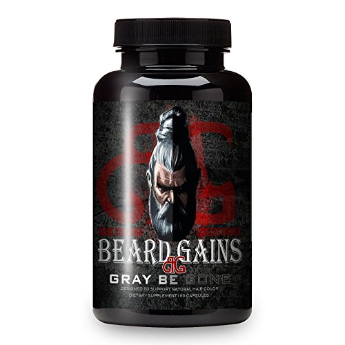 Beard Gains No More Gray Beard Hair Vitamins - White Hair Prevention Supplement Pills - Restore Your Original Brown Black or Red Hair Color