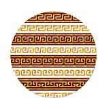 Polyester Round Tablecloth,Toga Party,Ancient Greek Cultural Tribal Geometric Meanders Figure Ornaments Design Decorative,Redwood Apricot,Dining Room Kitchen Picnic Table Cloth Cover,for Outdoor Indo