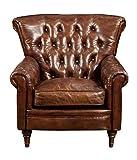 New Castle Club Chair Brown Dark Dimensions: 38''W x 35''D x 36''H Weight: 91 lbs