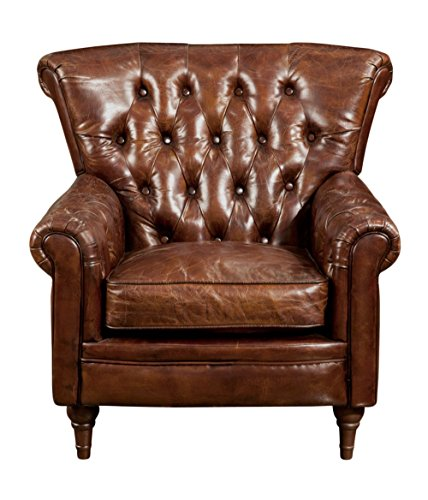 New Castle Club Chair Brown Dark Dimensions: 38''W x 35''D x 36''H Weight: 91 lbs by Moe's Home Collection