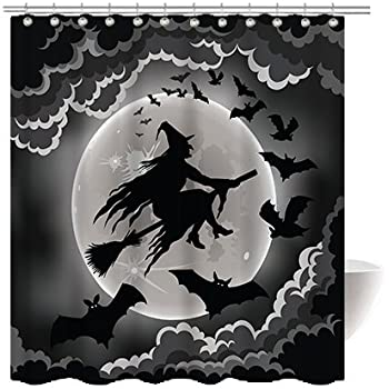 Gwein Halloween Night Theme Flying Witch Happy Decorative Bathroom Mildew Resistant Fabric Shower Curtain Waterproof