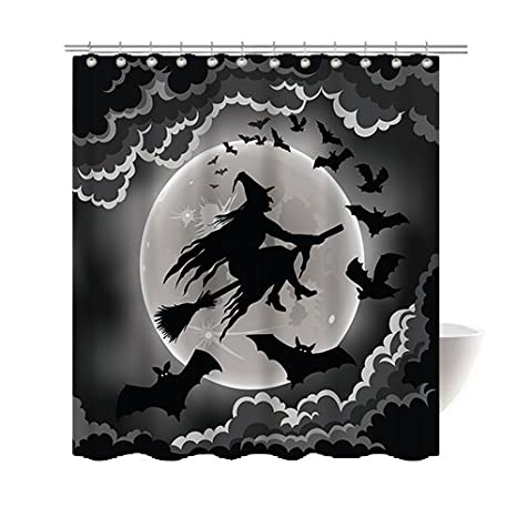 Gwein Halloween Night Theme Flying Witch Happy Halloween Decorative Bathroom Mildew Resistant Fabric Shower Curtain Waterproof Antibacterial Shower Room Decor Shower Curtains 72 x 72
