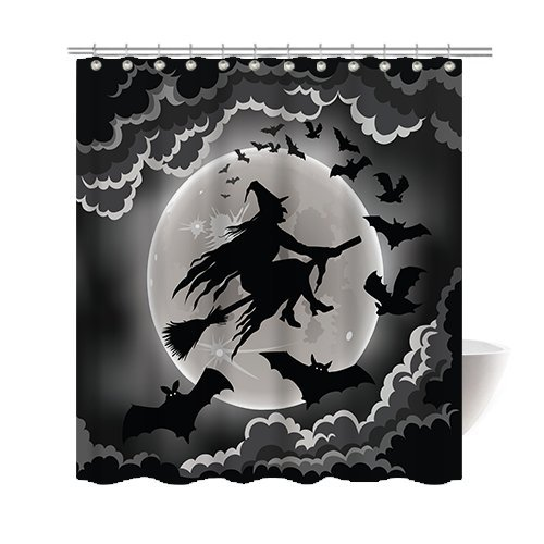 [Gwein Halloween Night Theme Flying Witch Happy Halloween Decorative Bathroom Mildew Resistant Fabric Shower Curtain Waterproof Antibacterial Shower Room Decor Shower Curtains 72 x] (Mounted Animal Head Costume)