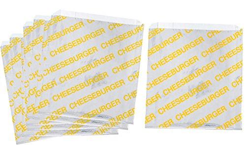 (Printed Foil Cheeseburger Bags- 75 Pack - Silver, Yellow)