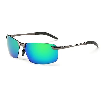 WANGXIAOLIN Gafas De Sol Polarizadas Coloridas De Los Hombres Dedicados (Color : Verde)