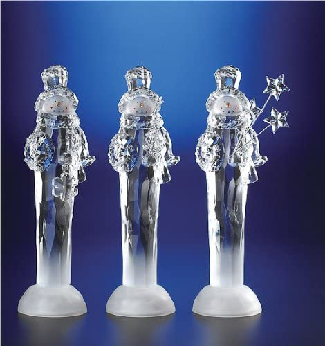 Pack of 6 ICY Crystal Illuminated Christmas Snowmen with Gift Figurines 11.5