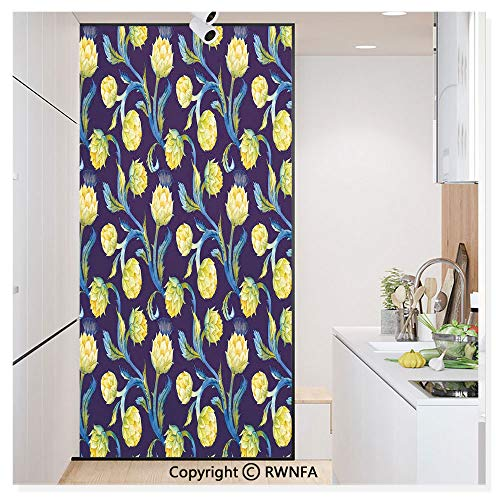 RWN Film Window Films Privacy Glass Sticker Watercolor Artichokes Abstract Color Scheme Art Nouveau Static Decorative Heat Control Anti UV 30In by 59.8In,Dark Blue Violet Blue and Yellow