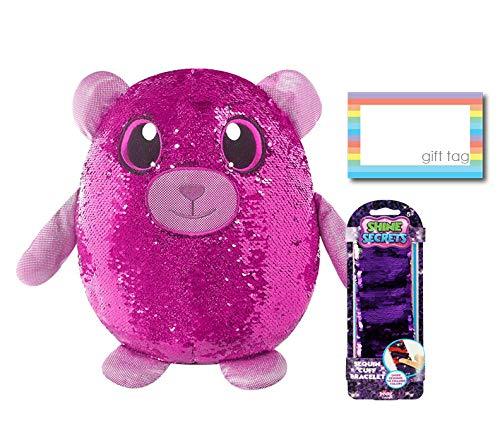 (Ropeastar Shimmeez Plush Toy and Secret Sequin Cuff Bracelet Set, Large Shimmeez Sequined Animal Plush Toys, Slap Bracelet, Sequined Stuffed Cuddle Toys, Unique Gifts for Kids (Benji The Bear))
