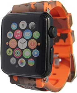 Sport Camo Waterproof Band Compatible for Apple Watch 38/40mm Camouflage Silicone Strap for iWatch 6/5/4/3/2/SE Rubber Band (Orange-38/40mm)