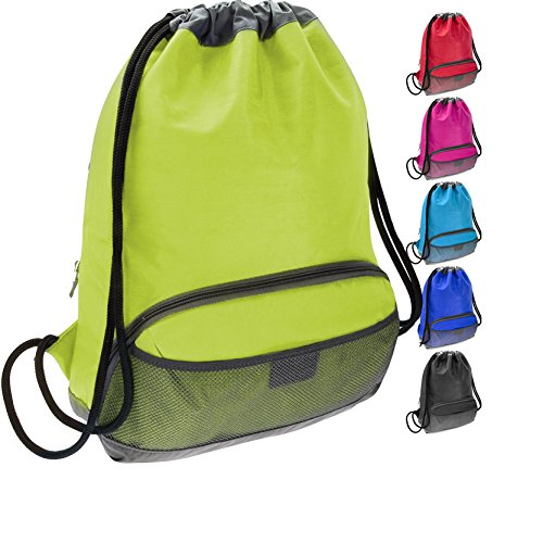 Nylon Cinch (ButterFox Water Resistant Swim Gym Sports Dance Bag Drawstring Backpack Cinch Sack Sackpack for Kids, Men and Women, Waterproof Outer Shell Fabric (Lime Green))