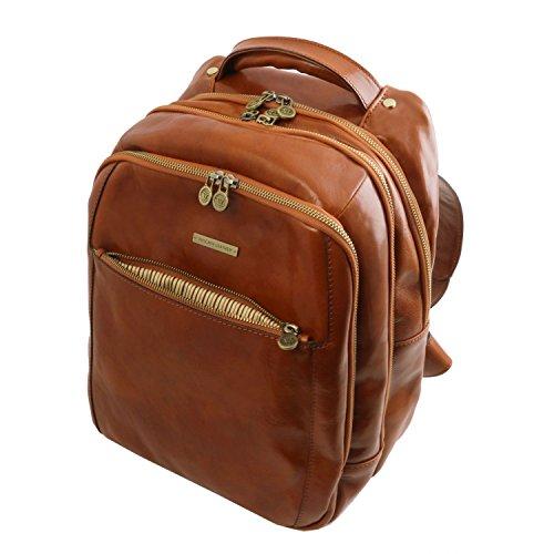 Tuscany Leather Phuket Notebook Rucksack aus Leder 3 Fächer Dunkelbraun Honig kFfYRz8YmK