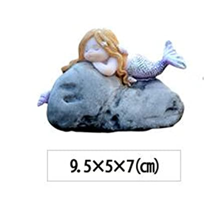 9.5x5x7cm resina sirenas adornos de jardín gnomos estatuas regalos decoración del tanque de peces 1