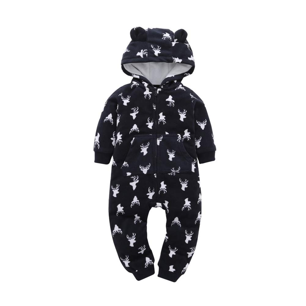 AIKSSOO Infant Baby Boy Girl Romper Outfit Winter Warm Hooded Jumpsuit Footies