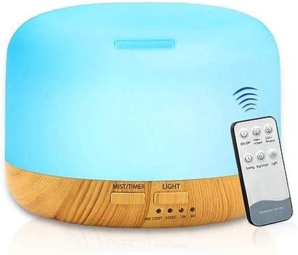 リモコン付きアロマセラピーディフューザー300mlアロマディフューザー加湿器7色変更常夜灯調節可能なミストモード2タイマーウォーターレスオートオフ静か