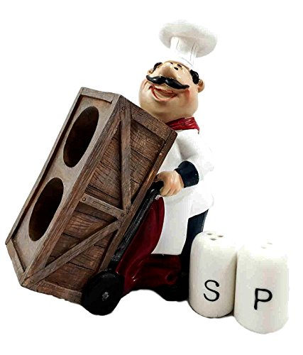 Fat Chef Wood - Chef Mario Pushing Cart With Wood Food Crates Salt Pepper Shaker Holder Figurine