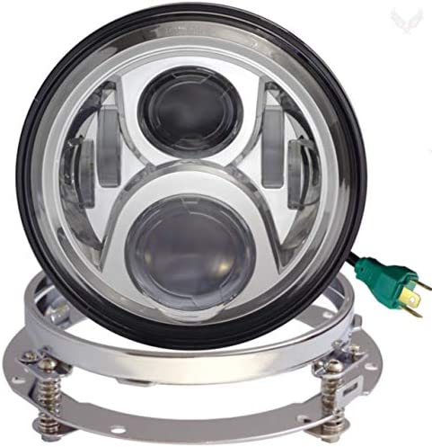 Eagle Lights 7インチラウンドジェネレーションII ブラックLEDヘッドライトキット 2014年以降のハーレーダビッドソンオートバイ用アダプターハーネス付き