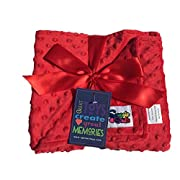 Reversible Unisex Children's Soft Baby Blanket Minky Dot (Choose Color) (Red)